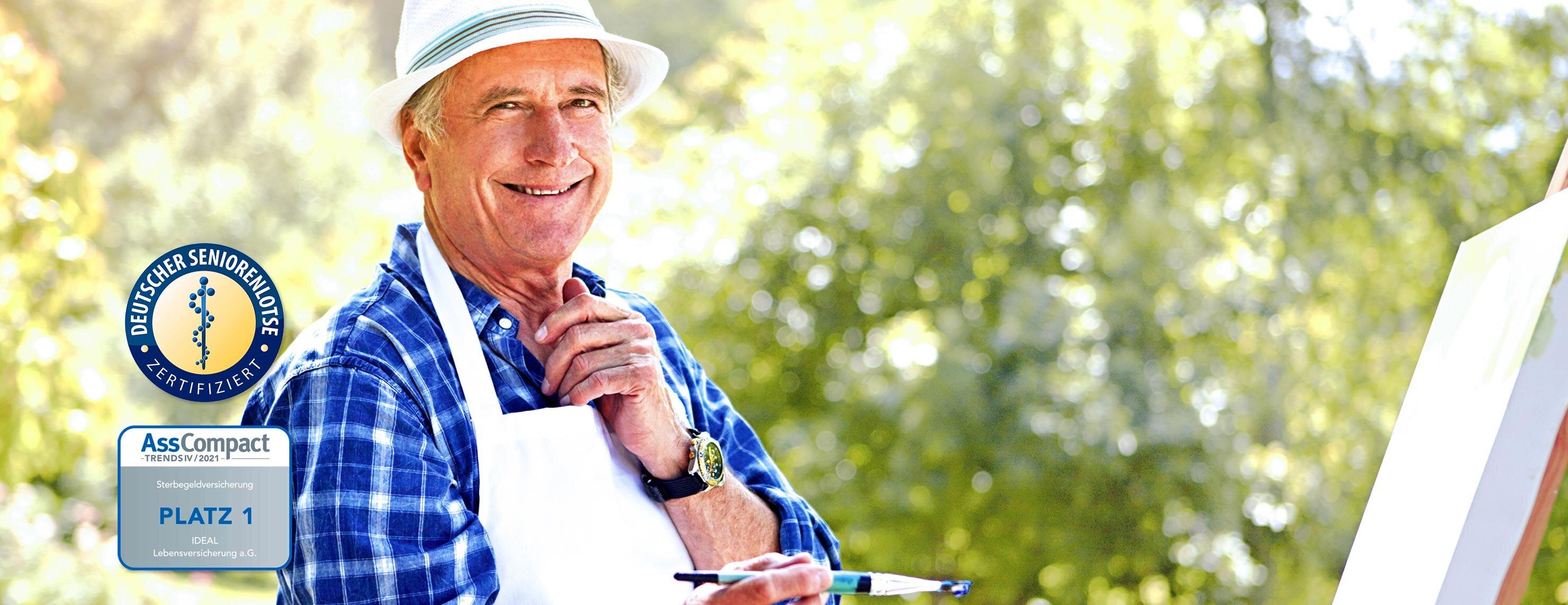 IDEAL Sterbegeldversicherung ohne Gesundheitsprüfung: älterer Herr mit Pinsel vor einer Leinwand
