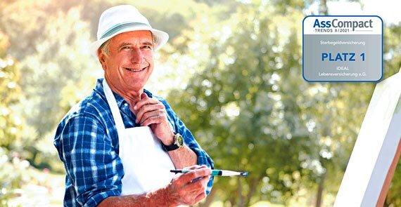IDEAL SterbeGeld: älterer Herr mit Pinsel vor einer Leinwand