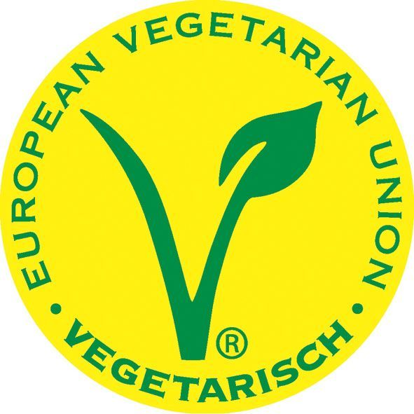 Grünes Vegetarier-Siegel auf gelbem Grund