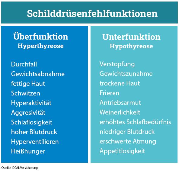 Symptome Schilddrüsenfehlfunktion
