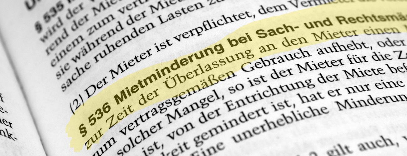 §536 Mietminderung im Gesetzbuch