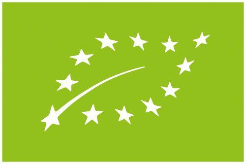 EU-Bio-Siegel, geformt wie ein Blatt aus Sternen auf grünem Hintergrund