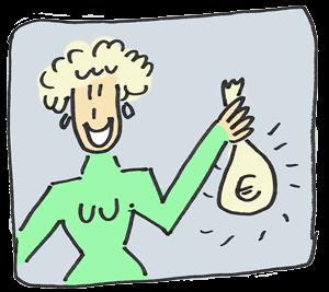 Illustration von Frau mit Geldbeutel