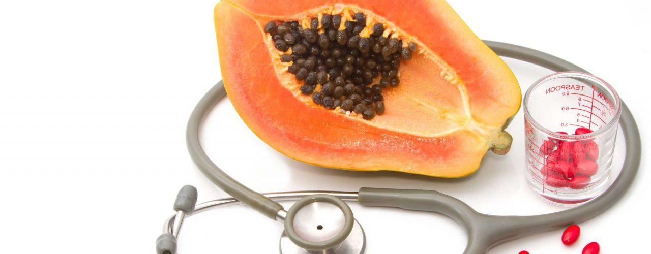 Papaya und Stethoskop