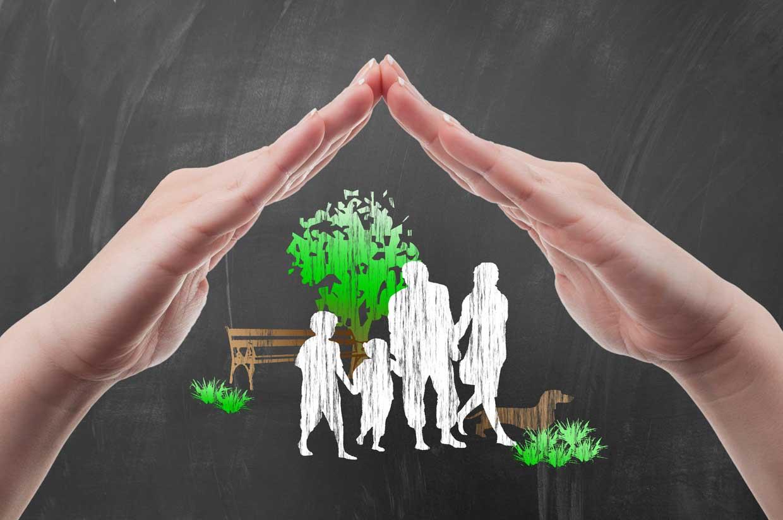 Grafische Darstellung des Schutzes einer Familie