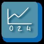 Grafisches Symbol für Aktienfonds mit blaugrauem Hintergrund