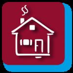 Grafisches Symbol für Bausparer mit weinrotem Hintergrund