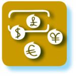 Grafisches Symbol für Derivate mit gelbraunem Hintergrund