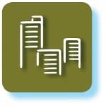 Grafisches Symbol für Immobilien mit grünbraunem Hintergrund
