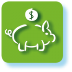 Grafisches Symbol für Sparbuch mit grünem Hintergrund