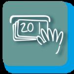Grafisches Symbol für Tagesgeld mit grünbläulichem Hintergrund