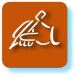 Grafisches Symbol für Lebensversicherung mit rotbraunem Hintergrund