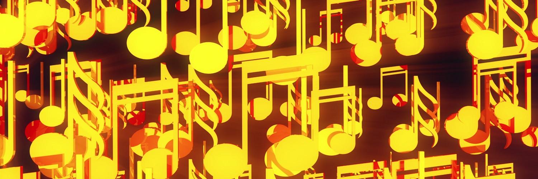 Gelbe Musiknoten auf dunklem Grund Musikdownloads