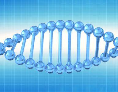 Blaue Doppelhelix vor blau-weißem Grund