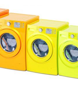 Waschmaschinen in den Farben der Energielabel