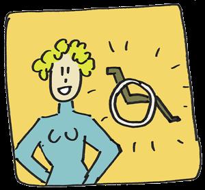 Illustrationv von Frau - im Hintergrund ein Rollstuhl